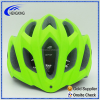 Fluor green color PC bike helmet with rear LED light