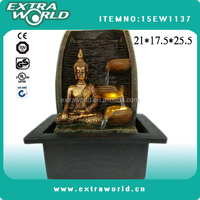 indoor resin thailand buddha water fountain with LED light