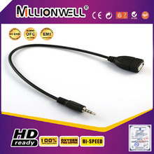 3.5mm male aux audio plug jack to usb 2.0 female usb cable