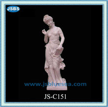 Hand Carved Sexy Pink Marble Lady Statue With Pen