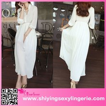 2015 new design Apricot Button Down Sheer Chiffon Jersey Maxi Dress open sex woman images