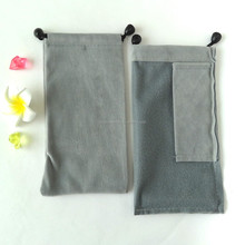 Custom printed grey velvet drawstring with little pouch wholesale