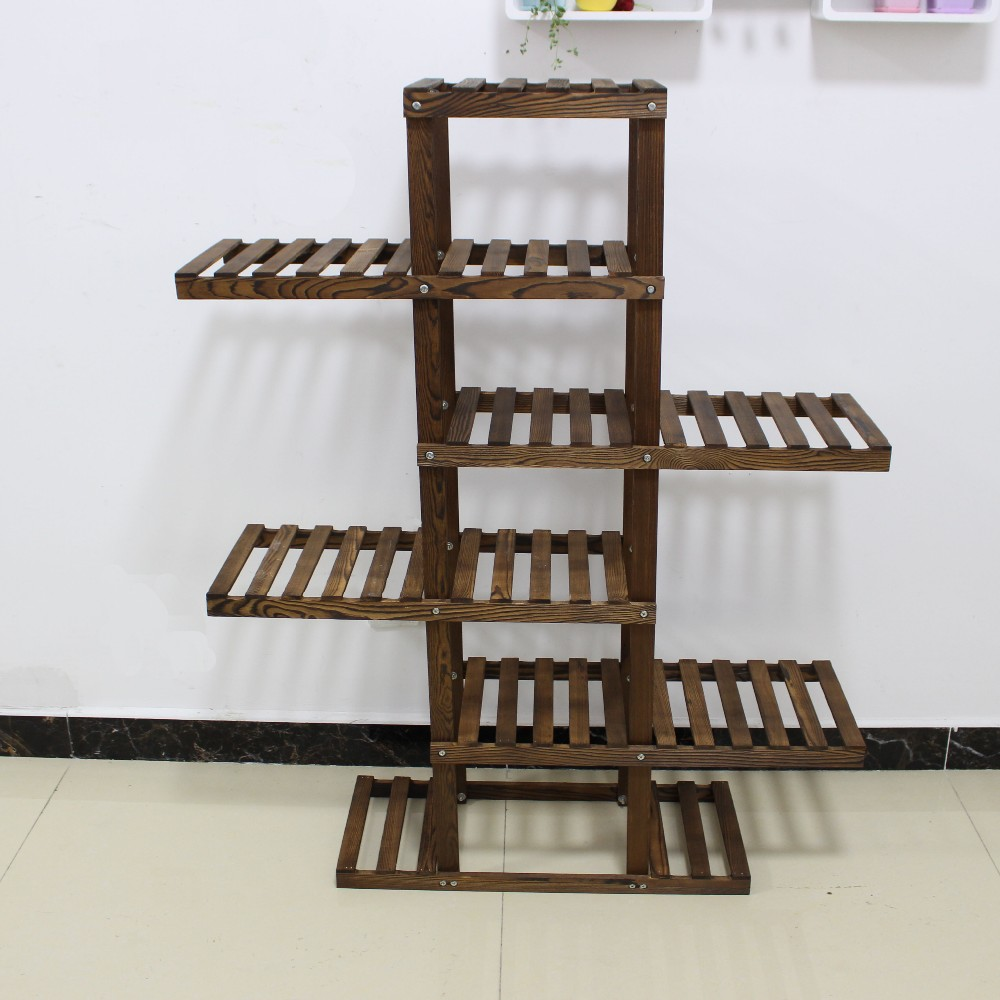 Pan Country Rustic Display Rack Stand Wooden Flower Pot ...