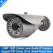 Top 10 CCTV Cameras 720P Bullet IP Cam 1.0 Megapixel Outdoor IP Camera Waterproof Night Vision 48pcs Led 30M IR Range P2P ONVIF