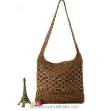 2015 New Style Hand Knit Beach Handbag ,Fashion Crocheted Straw Hand Bag