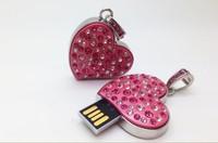 Real Full Capacity !Diamond crystal heart USB Flash Memory Pen Drive Stick 4/8/16/32GB