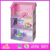 Hot New Products For 2015 Wooden Doll House,High Quality children Wooden Doll House,Kids wooden toy doll house W06A018