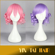 In Stock Wholesale 18inch Curly Wig Synthetic Purple Cosplay Short Lace Wigs Lady's Wig for White Women