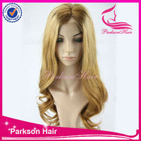 Silk top blonde brazilian hair full lace wig with stretch wig caps