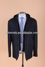 Korean Brand Name Winter Fashion Hooded Wool Cashmere Coat For Men