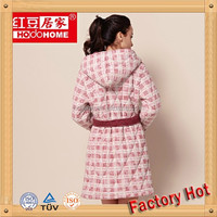 OEM 100% Cotton Quilted Bathrobe Patterned For Women