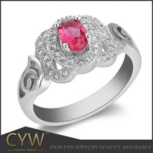 CYW 2015 new design Fashion jewelry, silver ring with big red stone wholesale