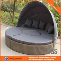 Deluxe Outdoor Wicker Round Rattan Daybed Indoor Bedroom Furniture