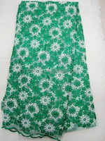 high quality 100% france design j381-2 green african net lace with cord