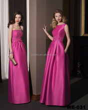 simple style strapless or sleeveless a-line red fushia wedding party evening dress