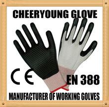 CY mechanical use safety glove nitrile coated water proof work gloves for sale