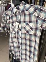 Man short sleeve cotton checks plaids shirts
