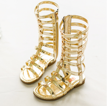 Little Girl Fancy Gladiator Shoes Open-toed knee-high Sandals boots