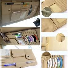 Boshiho Car Leather Sun Visor multi-use CD DVD Holder Bag Pocket Glass Clip Card Pen