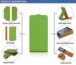 color green orange precise camera hole site slim design magnet closure detachable leather flip mobile phone cover for iphone 6