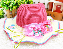 Factory Outlet baby straw hat for baby, graceful baby beach hat with bowknot and ribbons, outdoor brim sun hat