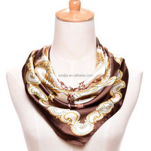 Fashion women print polyester square chains silk satin scarf