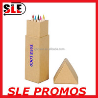 Triangular shaped kraft paper tube package 6 pcs set color pencil