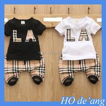 HOGIFT Children short sleeve T-shirt harem pants two sets/latest design children cotton T-shirts