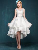 Fashion v-neck backless taffeta short puffy prom dresses FXL-246
