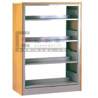 Library Cabinet Furniture Wood and Metal Library Stand Movable Bookcase
