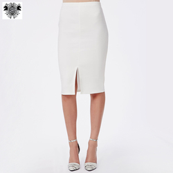 Wholesale office lady fitted design midi front split bandage pencil skirt