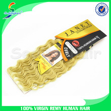 No tangle no shedding clip in sew in deep wave human hair for braiding human hair extension blonde
