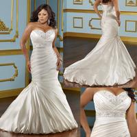 Sweetheart hot sale beaded sequined satin mermaid big size XL XXL cheap plus size wedding dress CWF1801
