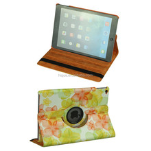 Sleep/Wake smart case PU Leather Stand Cover for ipad air 2 360 degree Swivel Case Flower Pattern Printing
