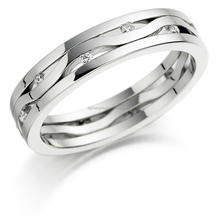 Stainless Steel Antique Style Jewel Pair Wedding Rings