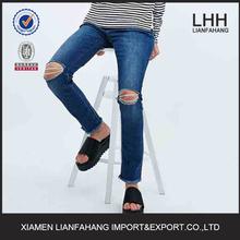 Navy blue popular damaged denim jeans for women