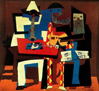 Word famous artist painting Musicians with masks by Picasso