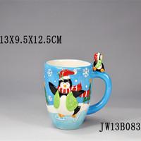 Ceramic Christmas Santa Head Decorative Coffee Mug,santa decorative ceramic christmas mug,Handing Painting Snowman mug
