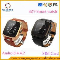 2015 latest wrist watch SZ9 Smart watch android dual sim MTK6572 512M/4GB CE ROHS wifi smart watch