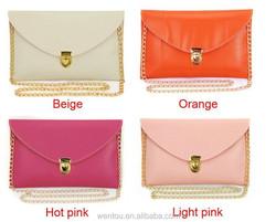 2015 ladies envelope clutch bag leather purse chain clutch bag