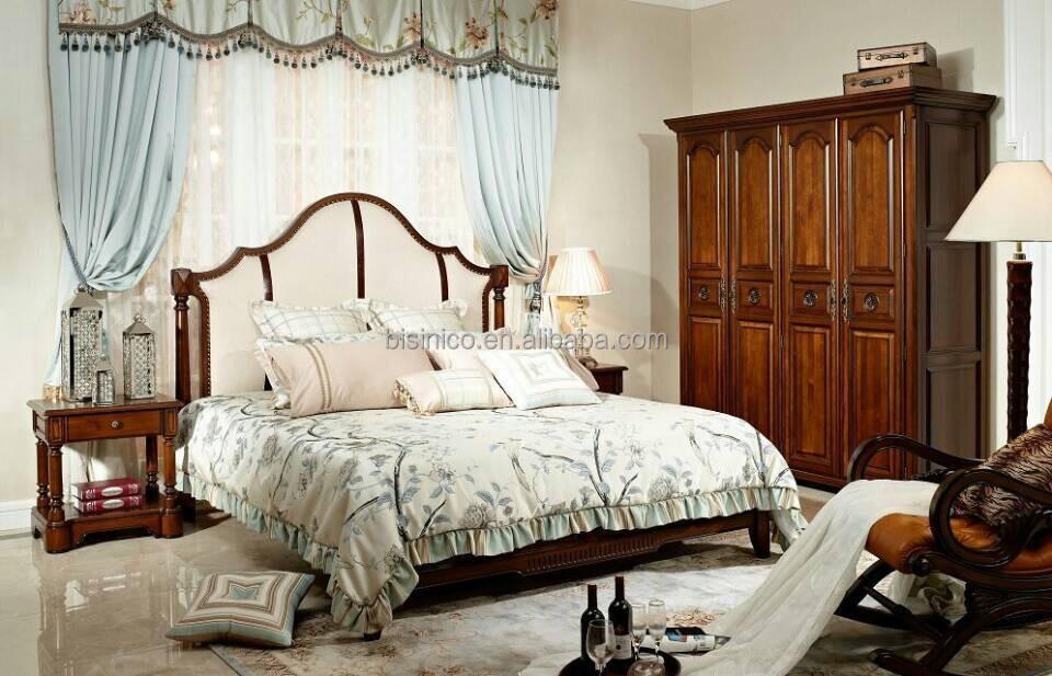 Antique Wooden Hand Carved Upholstered Bedroom Set Fabric King Size Bed Ameri