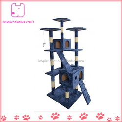 Cat Tree House Scratching Post Blue Bed Toy Pet Tower