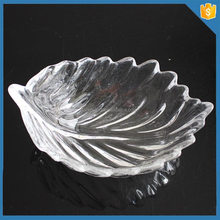 Cute crystal leaf shaped glass plates for salad