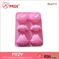 High quality cat and dog silicone animal cake mold