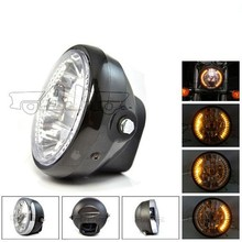 BJ-HL-008 High quality off road amber round black 35W 26 LED headlight for motorcycle