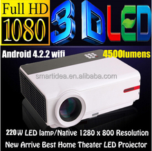 1080P Brirghtest 4500lumens Android 4.2 Native Full HD Led Digital Smart 3D Home Theater Projector Hot selling