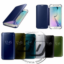 luxury mirro case For Samsung Galaxy S6 Edge Plus/ Note 5 case,Cheap Flip covers for samsung s6 case clear view