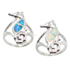 Handmade Animal Shaped White Gold Plated Sea Horse Silver Opal Rings