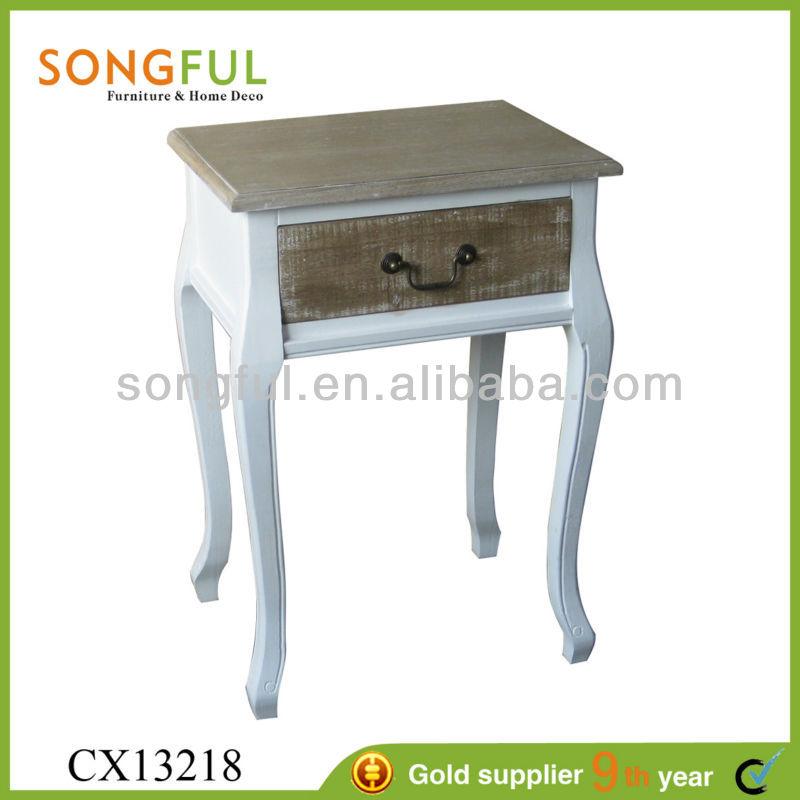 Estilo francés del país, blanco y madera sin terminar indio tallado de muebles de madera