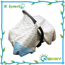 2 in 1 Use 100% Cotton Baby Carseat Blanket Canopy